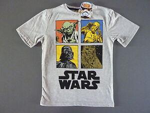 NEU-STAR-WARS-Jungen-T-Shirt-Gr-140-Darth-Vader-Yoda-C3PO-Chewbacca-Grau-Primark