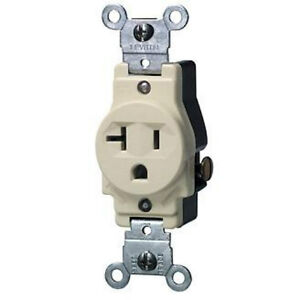 leviton 5801 i 20a 250v narrow grounding single side wire receptacle ivory ebay