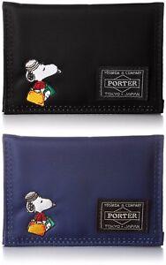 JOE PORTER Yoshida bag Pass Case Peanuts SNOOPY Made in Japan JP-PC Black Navy