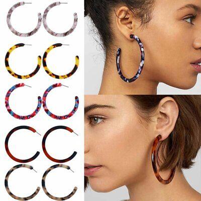Boho Women Big Ring Acrylic Earrings Fashion Resin Ear Stud Dangle Jewelry Gifts