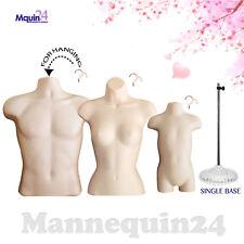 Male Female Toddler Torso Dress Form Set 3 Hangers 1 Stand Flesh Mannequins