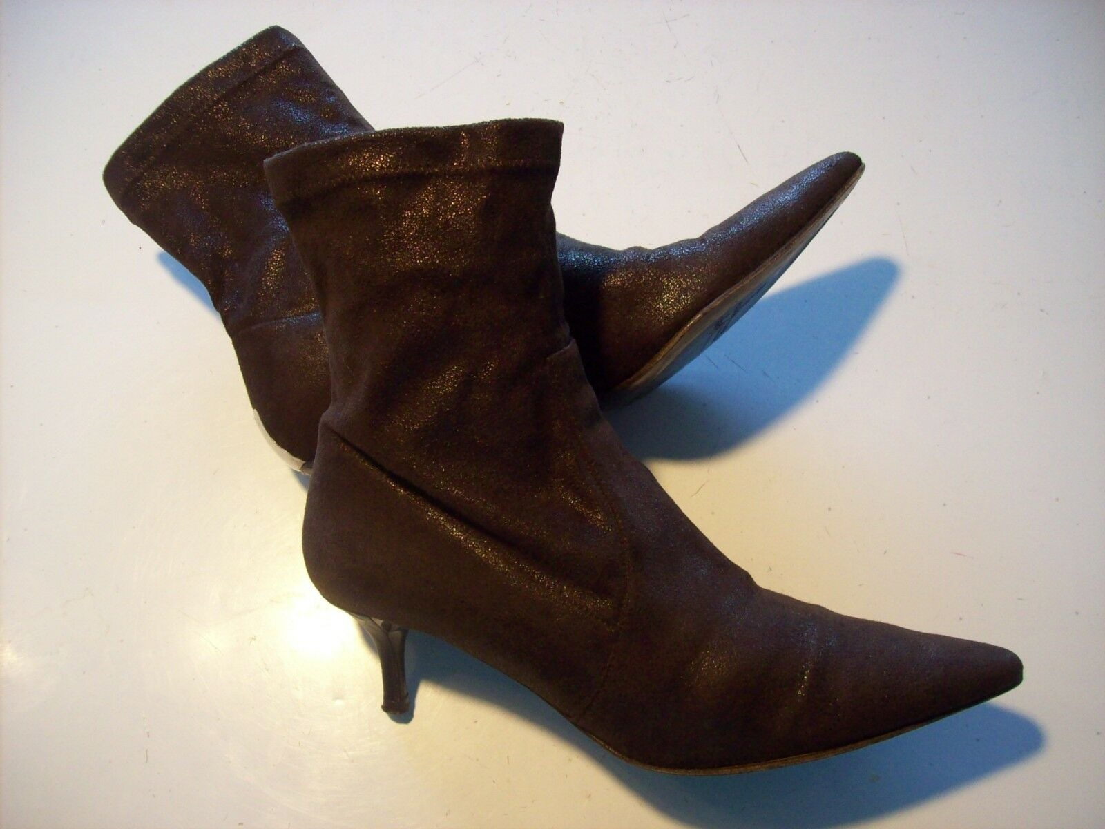 Donald Pliner Eppie Brown Stretch Above Ankle Boots Heels Shoes Size 8 @ cLOSeT