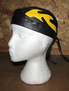 Kids-Childrens-Youth-Leather-Flamed-Motorcycle-Headwear-Zandana-Black-Yellow-T