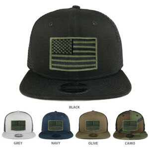 Black Olive American Flag Patch Snapback Trucker Cap - FREE SHIPPING ... c54e6ee4d67