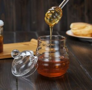 Pro-250ml-Kitchen-Glass-Honey-Pot-Set-Transparent-Jam-Jar-with-Dipper-Lid-5-7-039-039