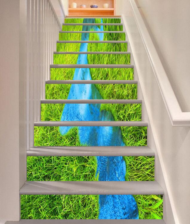 3D Grass Bule Lake Stair Risers Decoration Photo Mural Vinyl Decal Wallpaper UK