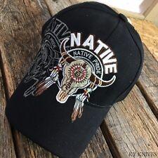 Native American Bull SKULL Indian Native Pride BLACK Baseball Ball Cap Hat NEW-S