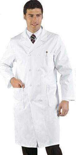 Camice Uomo Medico Dottore Doppio Petto Bianco Cotone Large L 50  Elegante