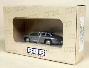 BUB-1-87-Scale-06704-Mercedes-Benz-300SL-Grey-Metallic-Diecast-Model-car