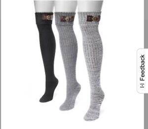 ad62d5d43fb MUK LUKS Women s 3-Pair Buckle Cuff Over the Knee Socks Black ...