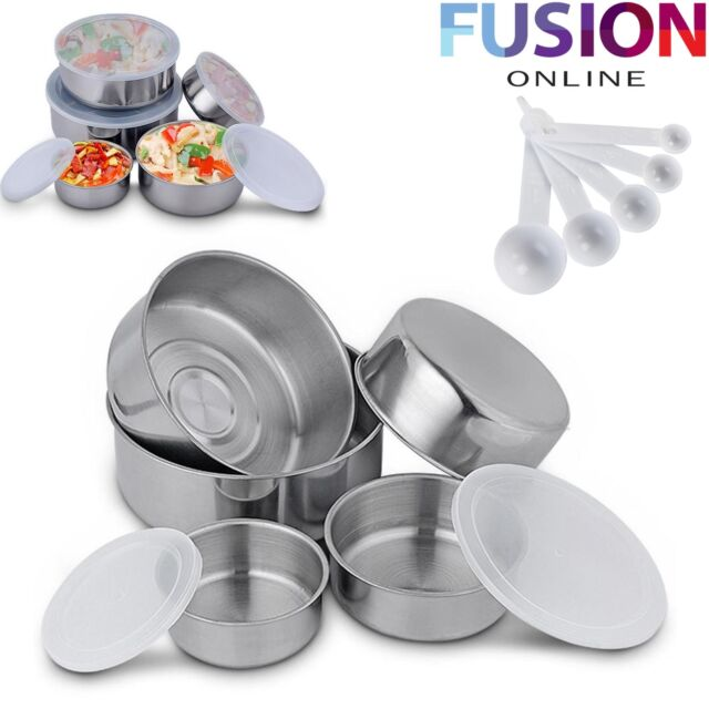 15 Stackable Stainless Steel Bowls with Lid Food Storage Kitchen Spoons Set Bowls Home, Furniture & DIY