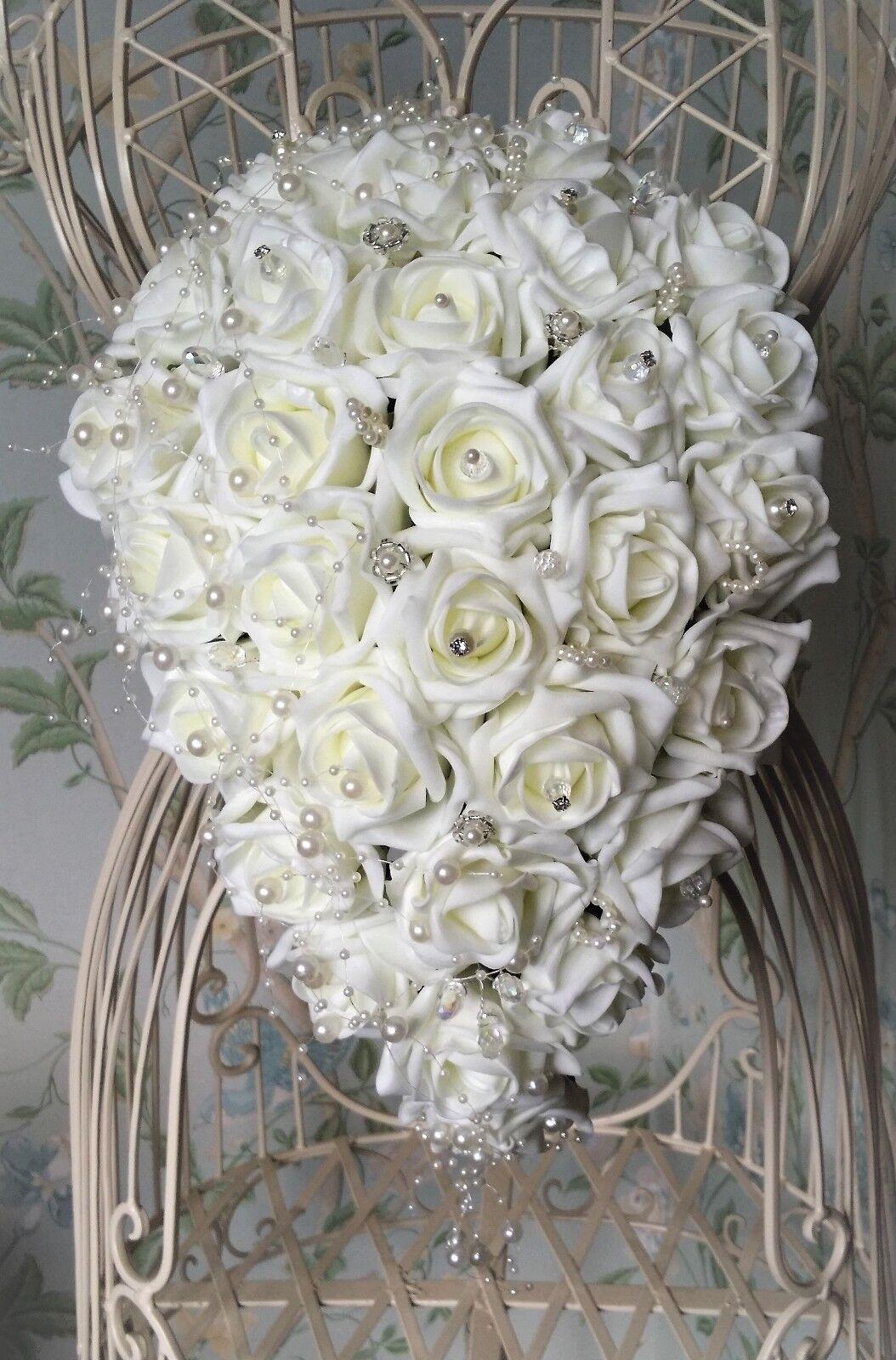 Rose pearl & crystal strass mariées larme mariage bouquet fleurs sparkle
