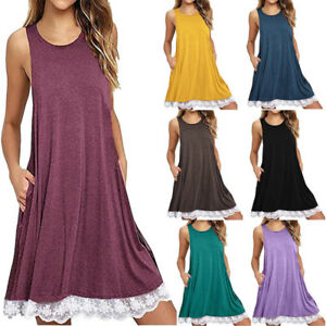 1adfb7947ced Women Sleeveless Loose T-Shirt Dress Casual Swing Lace Summer Dress ...