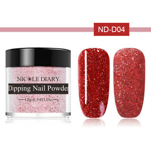10ml-NICOLE-DIARY-Red-Glitter-Matte-Dipping-Powder-Acrylic-Tips-Nail-Art-ND-D04