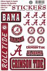 Alabama Crimson Tide Vinyl Die-Cut Sticker Decals - 18 per sheet