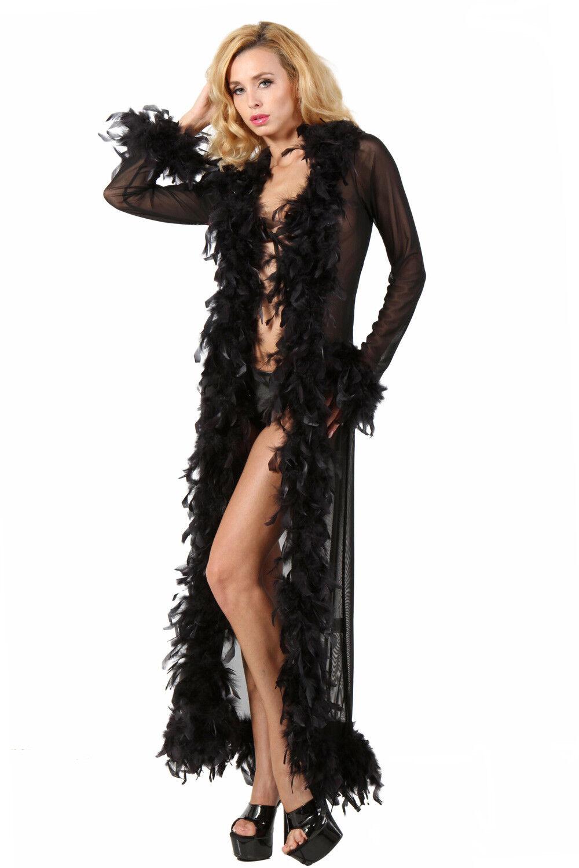 Déshabillé peigblack robe de chambre burlesque pinup black plumes résille glamour