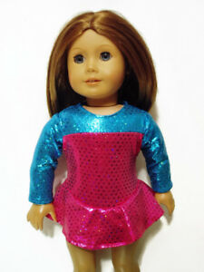 Pink-Teal-Ice-Skating-Outfit-fits-American-Girl-18-034-Doll-Clothes