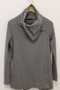 LULULEMON-WOMENS-SNAP-BUTTON-GRAY-ASANA-COWL-NECK-WRAP-SWEATER-JACKET-SZ-4