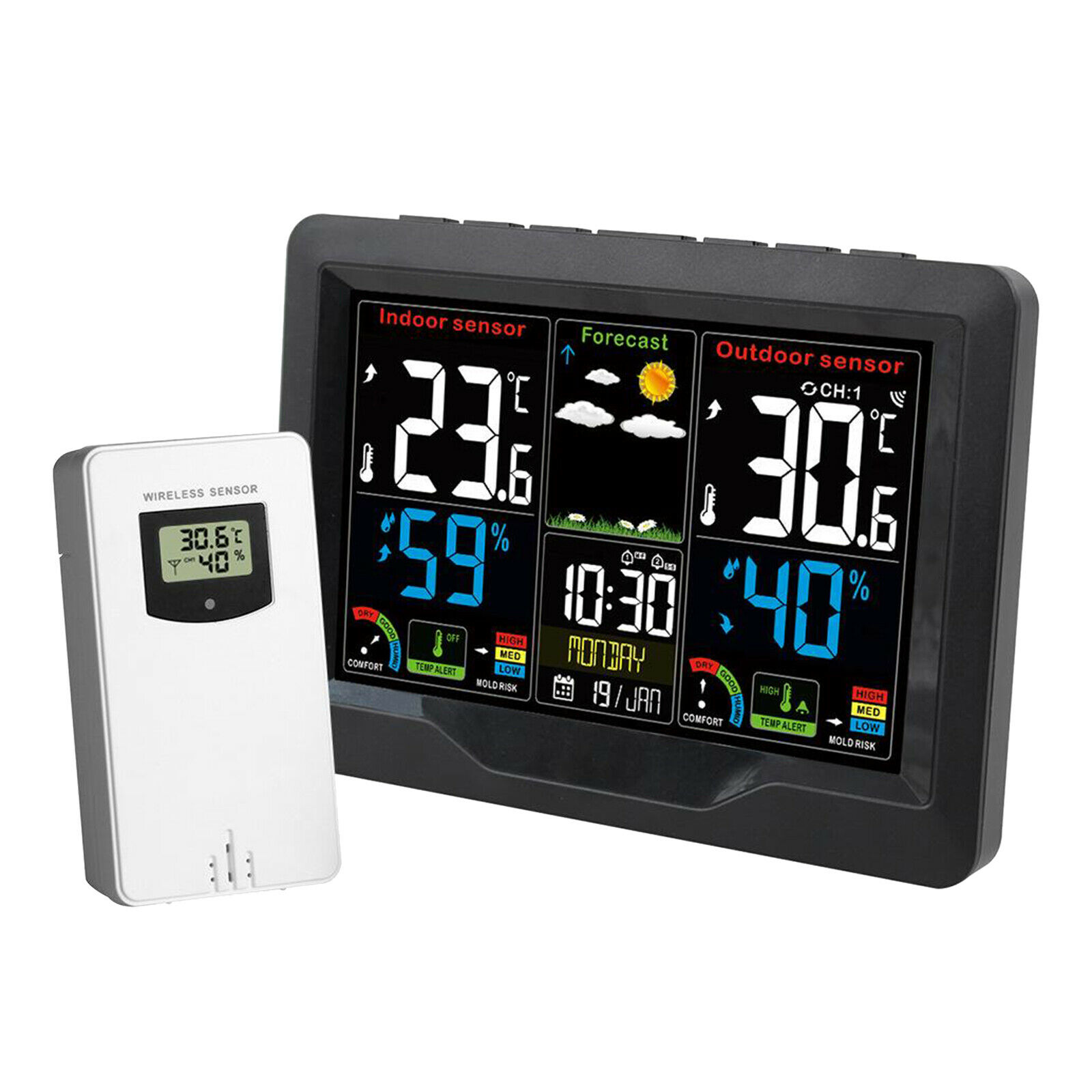 Weather Forcast Station Wireless Indoor Outdoor Thermometer Digital Clock LCD