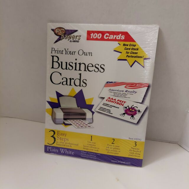 Print Your Own Business Cards Plain White 100 Cards Pc Papers By Ampad 35582 For Sale Online Ebay