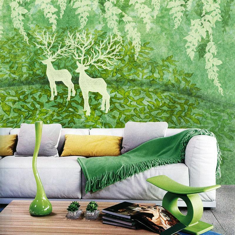 3D Grüner Wald Hirsch 83 Tapete Wandgemälde Tapete Tapeten Bild Familie DE  | Verschiedene  | Outlet Online  | Kostengünstiger