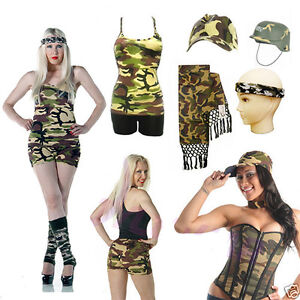 New-CAMOUFLAGE-OUTFIT-ACCESSORIES-TUTU-SKIRT-BAG-WRIST-SHORTS-VEST-ARMY-TROUSERS