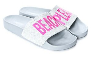 70c9917dd713e5 Image is loading The-White-Brand-Beach-Please-Pink-Felt-Slide-