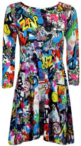 WOMENS BANG LEOPARD SKULL PRINT FLARED SWING SKATER DRESS TOP PLUS SIZES 8-26