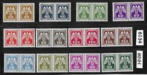 Two-2-Complete-MNH-WWII-Emblem-stamp-sets-1943-German-Occupation-Third-Reich