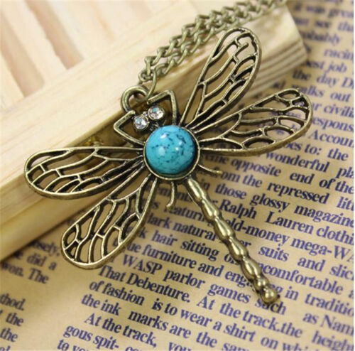 New Retro Personality Pierced Dragonfly Sweater Chain Necklace Jewerly