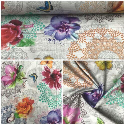 Deko Patchwork Stoffe Baumwolle Lonetta 280cm Breit Gardine Vorhang Blumen