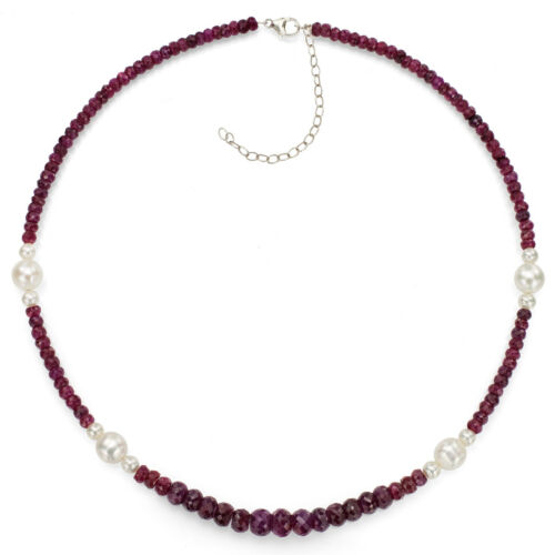 9mm White Pearl /& Graduated Red Ruby 18/'/' Sterling Silver Necklace 5mm