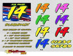 Slingshot Race Car Numbers Vinyl Decals Kit Package - Vinyl decals for race cars
