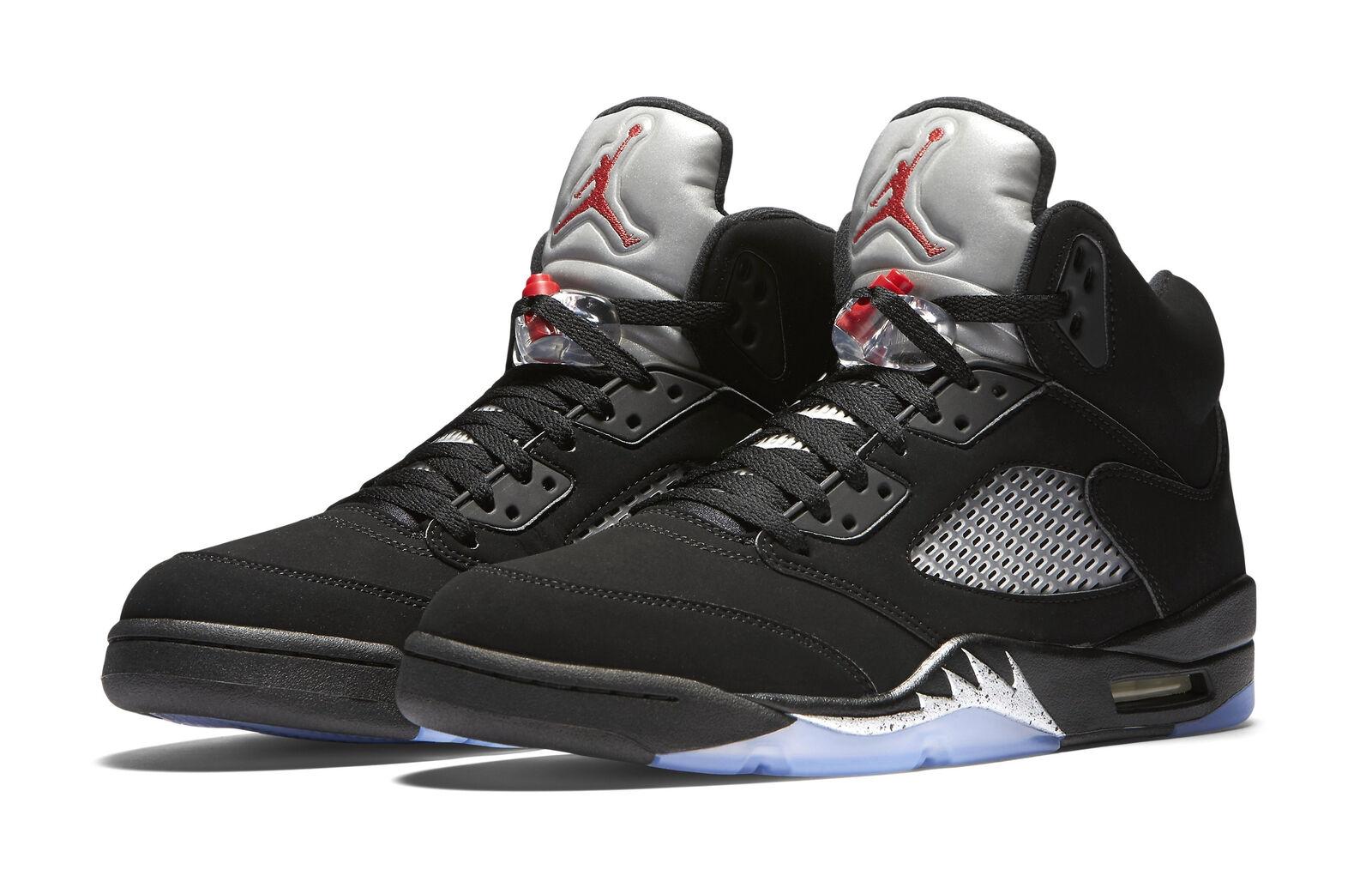 Nike air jordan retro 5 scarpe da uomo, volume 15, nero / argento metallico