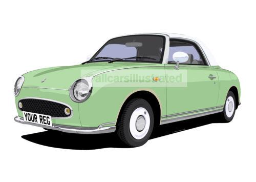 NISSAN FIGARO CAR ART PRINT. ADD YOUR REG DETAILS, CHOOSE COLOUR