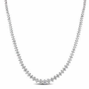 Sterling Silver Cubic Zirconia Graduated Tennis Necklace by Amour