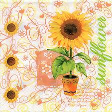 4 Motivservietten Servietten Napkins Tovaglioli Sonnenblume im Topf (874)