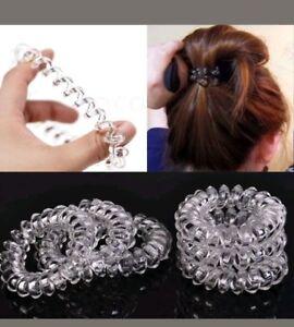 6 pcs. Clear Girl Gel Stretch Plastic Spiral Phone Cord Hair Ties ... 5d165c5f71c