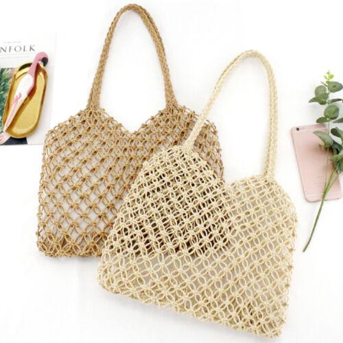 Vintage Women/'s Straw Bag Hollow Woven Bag Beach Bag Handwoven Satchel U0Q3
