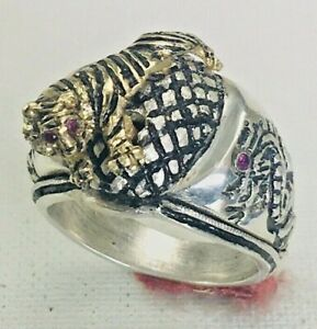 Kenpo Dragon Tiger Onyx Ring Sterling Silver