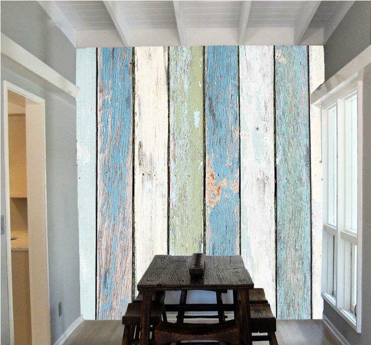 3D Blau Wood Strips 8 Wallpaper Mural Paper Wall Print Wallpaper Murals UK Lemon