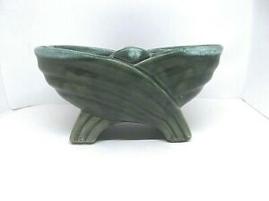 """Vintage Footed USA Marked Planter With Green Drip Glaze  8"""" x 5"""" x 4"""""""