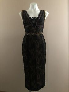 Mandalay Womens Black Lace Sequin Beading Floral Evening Dress Sleeveless Size 8