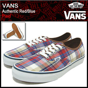 48091b2c8bcfce Image is loading New-Vans-Authentic-Plaid-Red-Blue-VN-0SCQ708-