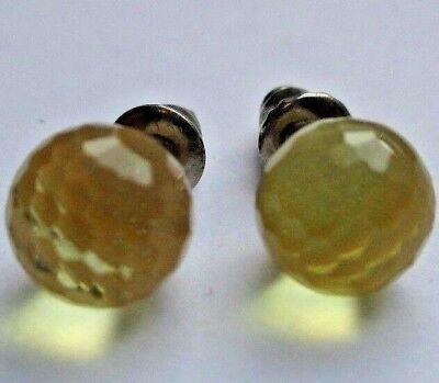 Boucles D'oreilles Clou Bijou Vintage Translucide Jaune Beige Pailleté *2839