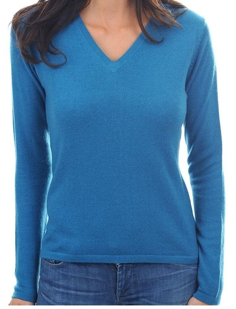 Balldiri 100% Cashmere Damen Pullover 2-fädig V-Ausschnitt leuchtendes blau XL