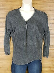 We-The-Free-Gray-Long-Sleeve-Boho-Shirt-Blouse-Top-Womens-Size-Large-L-EUC