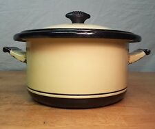 Antique VOLLRATH CO Kook King Enamelware 31 Sauce Pot  13 cups Yellow Black