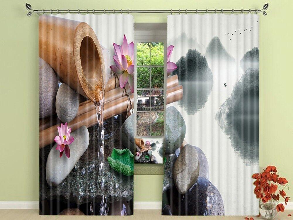 3d Lotus dipinto 5 blocco foto sipario pressione sipario tende tessuto finestra de