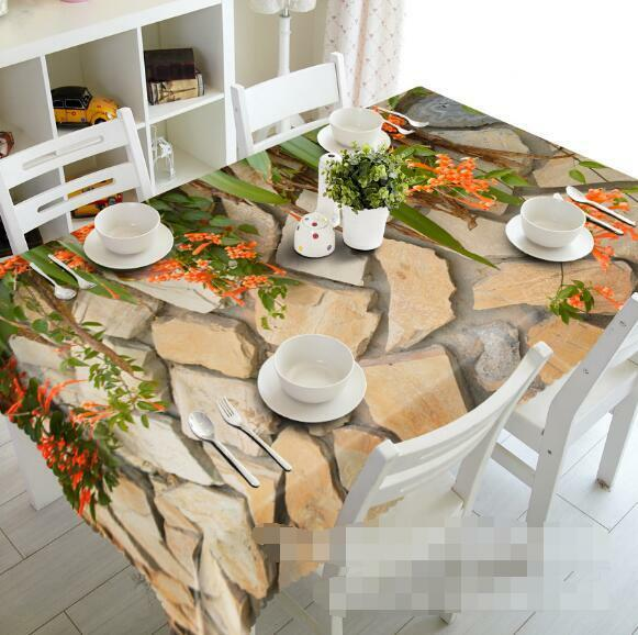 3D Stones Flowers Tablecloth Table Cover Cloth Birthday Party Event AJ WALLPAPER